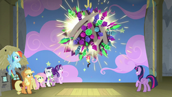 Size: 1280x720 | Tagged: alicorn, applejack, dragon, earth pony, female, fireworks, firework sun, fluttershy, horse play, imminent explosion, male, mare, pegasus, pony, rainbow dash, rarity, safe, screencap, starlight glimmer, this will end in explosions, twilight sparkle, twilight sparkle (alicorn), unicorn