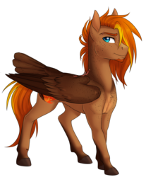 Size: 1256x1516 | Tagged: artist:askbubblelee, male, oc, oc only, oc:singe, pegasus, pony, safe, simple background, smiling, solo, stallion, tail feathers, transparent background