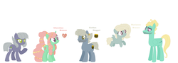 Size: 2110x750 | Tagged: artist:1313jaysong1313, earth pony, female, limestone pie, male, oc, oc:cherokee breeze, oc:golden nugget, oc:marianne breeze, offspring, parent:limestone pie, parents:zephyrhugger, parents:zephyrstone, parent:tree hugger, parent:zephyr breeze, pegasus, pony, safe, shipping, straight, zephyr breeze, zephyrstone