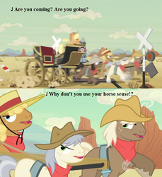Size: 635x692   Tagged: safe, edit, edited screencap, screencap, applejack, caboose, evening star, full steam, john bull, promontory, earth pony, pony, the last roundup, bandana, cowboy hat, desert, don't try this at home, friendship express, hat, hub logo, hubble, lyrics, male, railroad, railroad crossing, seven songs and a story, silly, silly pony, song reference, stagecoach, stallion, text, the hub, wagon, who's a silly pony