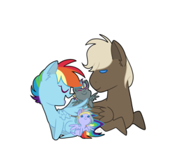 Size: 1000x950 | Tagged: artist:radioactivespaghetti, dumbbell, dumbdash, female, male, oc, offspring, parent:dumbbell, parent:rainbow dash, parents:dumbdash, rainbow dash, safe, shipping, simple background, straight, transparent background