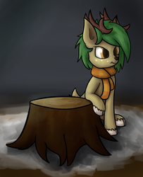 Size: 1024x1259 | Tagged: safe, artist:deerdraw, oc, oc only, oc:pisty, deer, deer pony, original species, pony, pony town, angry, antlers, black background, clothes, female, log, scarf, simple background, sitting, snow, solo, tree stump, unamused