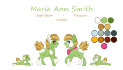 Size: 3496x2000   Tagged: safe, artist:jackiebloom, oc, oc:maria ann smith, earth pony, pony, baby, baby pony, coat markings, female, filly, high res, offspring, parent:apple bloom, parent:pipsqueak, parents:pipbloom, piebald colouring, reference sheet, simple background, socks (coat markings), solo, transparent background