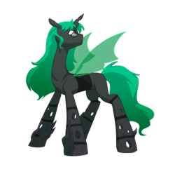 Size: 3380x3352 | Tagged: artist:carnifex, changeling, changeling oc, commission, glasses, green changeling, male, oc, oc:cerebra, safe, simple background, solo, transparent background