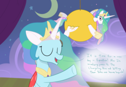 Size: 1300x900 | Tagged: artist:mightyshockwave, celestia's crown, changedling, changeling, clothes, costume, disguise, duo, fake ears, fake horn, female, horse play, mare, ocellus, pony, princess celestia, raised hoof, safe, stage, theater, wig