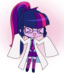 Size: 691x815 | Tagged: artist needed, safe, sci-twi, twilight sparkle, equestria girls, >.<, clothes, cute, description is relevant, drawthread, female, glasses, gradient background, lab coat, necktie, open mouth, oversized clothes, request, solo, squint, twiabetes