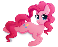 Size: 2298x1851 | Tagged: safe, artist:fluffymaiden, pinkie pie, earth pony, pony, cute, diapinkes, female, heart eyes, looking at you, lying down, mare, simple background, smiling, solo, white background, wingding eyes