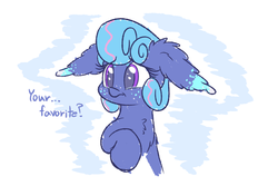 Size: 1500x1000 | Tagged: safe, artist:heir-of-rick, oc, oc only, oc:sapphire lollipop, earth pony, pony, abstract background, bust, chest fluff, crying, dialogue, ear fluff, female, floppy ears, impossibly large ears, mare, solo, tears of joy, teary eyes