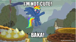 Size: 706x396 | Tagged: safe, edit, edited screencap, screencap, rainbow dash, pegasus, pony, secrets and pies, adorapiehater, blatant lies, cart, cute, evil pie hater dash, female, flag, house, i'm not cute, image macro, mare, meme, pies, raised hoof, solo, tree, tsunderahater dash, tsunderainbow, tsundere