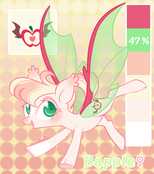 Size: 1684x1901 | Tagged: artist:nemovonsilver, bat pony, happy, oc, oc:bapple, oc only, pony, safe, smiling, solo