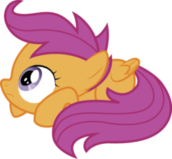 Size: 1073x990 | Tagged: safe, artist:swivel-zimber, scootaloo, pegasus, pony, lesson zero, butt wings, female, filly, prone, scare, scared, simple background, solo, transparent background, vector