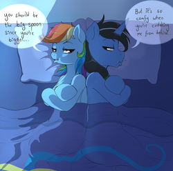 Size: 1280x1268 | Tagged: safe, artist:evomanaphy, rainbow dash, oc, oc:night rain, pegasus, pony, unicorn, bed, blanket, canon x oc, couple, cute, dashrain, female, male, pillow, pouting, relationship problems, shadows, shipping, silly, straight