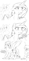 Size: 7200x15300   Tagged: safe, artist:silfoe, princess celestia, princess luna, queen novo, twilight sparkle, alicorn, classical hippogriff, hippogriff, pony, unicorn, nomad au, my little pony: the movie, :p, absurd resolution, alternate universe, black and white, dialogue, female, grayscale, lesbian, mare, monochrome, novolestia, royal multiverse, saddle bag, scrunchy face, shipping, silly, simple background, speech bubble, tongue out, twiluna, unicorn twilight, white background