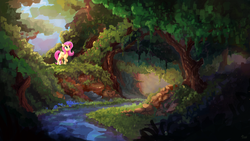Size: 4000x2250   Tagged: safe, artist:thefloatingtree, angel bunny, fluttershy, pegasus, pony, rabbit, commission, creek, female, forest, male, mare, outdoors, river, scenery, stream, water