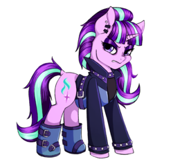 Size: 1200x1152 | Tagged: dead source, safe, artist:seishinann, starlight glimmer, pony, unicorn, the parent map, backwards cutie mark, belt, boots, clothes, coat, ear piercing, earring, edgelight glimmer, emo, female, glimmer goth, goth, jacket, jewelry, looking at you, mare, piercing, shoes, simple background, solo, teenage glimmer, teenager, transparent background, watermark