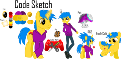 Size: 6850x3319 | Tagged: safe, artist:haybale100, oc, oc only, oc:code sketch, robot, unicorn, equestria girls, absurd resolution, clothes, colt, controller, crossed legs, cutie mark, equestria girls-ified, foal, hoodie, male, pet, pin, reference sheet, rule 63, screwdriver, simple background, stallion, transparent background, wrench