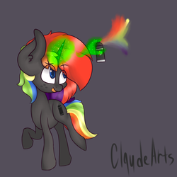 Size: 1000x1000 | Tagged: safe, artist:claudearts, oc, oc:krylone, pony, :p, freckles, hand, magic, magic hands, male, silly, solo, spray paint, stallion, tongue out