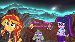 Size: 2048x1157   Tagged: safe, editor:php77, sci-twi, spike, spike the regular dog, sunset shimmer, twilight sparkle, dog, equestria girls, camp everfree outfits, clothes, equestria girls in real life, glasses, irl, jacket, leather jacket, mountain, open mouth, photo, ponytail, scared