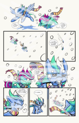 Size: 6600x10200 | Tagged: safe, artist:lytlethelemur, oc, oc:gimbal lock, oc:rally point, pegasus, pony, comic:fly with me, littlepartycomics, absurd resolution, adventure, clothes, comic, cute, scarf, snow, wildabeard