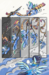 Size: 6600x10200 | Tagged: safe, artist:lytlethelemur, oc, oc:rally point, pegasus, pony, comic:fly with me, littlepartycomics, absurd resolution, adventure, clothes, comic, cute, scarf, snow, tree branch, wildabeard