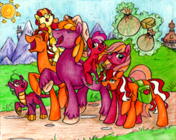 Size: 1024x816 | Tagged: safe, artist:pitterpaint, oc, oc only, oc:blythe, oc:cherry pit, oc:darcy spice, oc:honey crisp, oc:paula red, oc:rhubarb, oc:swindle apple, dracony, earth pony, hybrid, pony, unicorn, cousins, cowboy hat, female, hat, interspecies offspring, levitation, magic, male, mare, next generation, offspring, parent:apple bloom, parent:applejack, parent:big macintosh, parent:cheerilee, parent:flim, parent:spike, parents:cheerimac, parents:flimjack, parents:spikebloom, saddle bag, stallion, stetson, telekinesis, traditional art, unshorn fetlocks