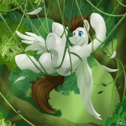 Size: 1573x1573 | Tagged: artist:bcpony, canopy, commission, male, oc, oc:core, pegasus, pony, safe, solo, stuck, tangled up, tree, underhoof, vine