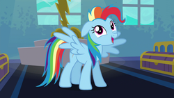 Size: 1280x720 | Tagged: alternate hairstyle, behaving like pinkie pie, dynamic dash, lightning, newbie dash, rainbow dash, safe, screencap, smiling, trunks