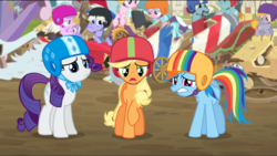 Size: 1360x768 | Tagged: applejack, broken, carts, helmet, rainbow dash, rarity, safe, screencap, the cart before the ponies