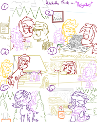 Size: 4779x6013 | Tagged: absurd res, adorkable friends, applejack, artist:adorkabletwilightandfriends, automobile, big macintosh, bucket, car, comic, comic:adorkable twilight and friends, covering eyes, cute, dirty, dragon, earth pony, engine, garage, hug, junkyard, key, lineart, moon, night, oc, oc:barry, plot, pony, ponyville, repairing, riding, safe, slice of life, spike, starlight glimmer, tools, unicorn, volvo