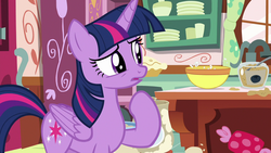 Size: 1280x720 | Tagged: alicorn, bowl, confused, cute, safe, screencap, secrets and pies, solo, spoiler:s07e23, sugarcube corner, twiabetes, twilight sparkle, twilight sparkle (alicorn)