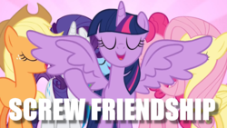 Size: 1000x563 | Tagged: safe, edit, edited screencap, screencap, applejack, fluttershy, pinkie pie, rainbow dash, rarity, twilight sparkle, alicorn, fame and misfortune, flawless, image macro, mane six, meme, twilight sparkle (alicorn)