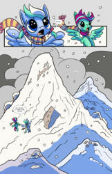 Size: 6600x10200 | Tagged: safe, artist:lytlethelemur, oc, oc only, oc:gimbal lock, oc:rally point, pegasus, pony, comic:fly with me, littlepartycomics, absurd resolution, adventure, comic, female, filly, mountain, roleplaying is magic, snow