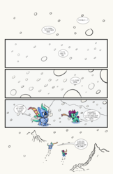 Size: 6600x10200 | Tagged: safe, artist:lytlethelemur, oc, oc only, oc:gimbal lock, oc:rally point, pegasus, pony, comic:fly with me, littlepartycomics, absurd resolution, comic, female, filly, roleplaying is magic, snow, snow storm, uh oh