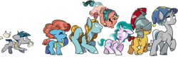 Size: 9000x3000 | Tagged: armor, artist:heyerika, colored hooves, colt, earth pony, female, filly, flash magnus, flying, hat, helmet, male, meadowbrook, mistmane, mouth hold, pegasus, pillars of equestria, pony, rockhoof, safe, shadow play, simple background, somnambula, star swirl the bearded, stygian, transparent background, unicorn, younger