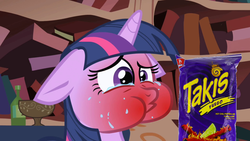 Size: 1280x720 | Tagged: edit, edited screencap, floppy ears, food, friendship is magic, golden oaks library, red face, safe, screencap, snack, snacks, solo, spicy, takis, twilight sparkle