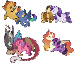 Size: 907x773 | Tagged: safe, artist:queerly, applejack, discord, pinkie pie, princess celestia, rainbow dash, rarity, spitfire, twilight sparkle, alicorn, draconequus, pony, bow, chibi, cloven hooves, cuddling, cute, cutefire, cutelestia, dashabetes, diapinkes, discopie, discute, female, flying, hair bow, jackabetes, lesbian, looking at each other, male, mare, nuzzling, raribetes, rarijack, redesign, shipping, simple background, spitdash, straight, transparent background, twiabetes, twilestia, twilight sparkle (alicorn)