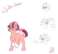 Size: 2800x2600 | Tagged: artist:mah521, female, filly, glasses, high res, oc, oc:wysteria dawn, offspring, one eye closed, parent:flash sentry, parent:moondancer, parents:flashdancer, pony, reference sheet, safe, solo, unicorn, wink
