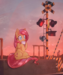 Size: 3300x3909   Tagged: safe, artist:mirroredsea, fluttershy, pegasus, pony, blushing, coffee, coffee cup, cup, cute, female, holding, hoof hold, looking up, mare, outdoors, railroad crossing, shyabetes, sitting, sky, solo, sunrise