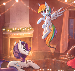 Size: 3000x2835 | Tagged: artist:mirroredsea, chimney, christmas, christmas lights, curtains, cute, dashabetes, duo, female, fire, fireplace, flying, holiday, horn, looking up, mare, pegasus, pinkie pie, pony, rainbow dash, raribetes, rarity, safe, sitting, smiling, unicorn, window, wings