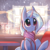 Size: 3000x3000 | Tagged: safe, artist:mirroredsea, trixie, pony, unicorn, adorable face, blushing, clothes, cute, daaaaaaaaaaaw, diatrixes, female, high res, hnnng, horn, indoors, looking up, mare, mirroredsea is trying to murder us, scarf, sitting, snow, snowfall, solo, winter