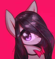 Size: 3000x3187 | Tagged: safe, artist:mirroredsea, octavia melody, earth pony, pony, alternate hairstyle, big ears, big eyes, bowtie, bust, cute, eye clipping through hair, female, hair over one eye, high res, long hair, long mane, looking at you, mare, pink background, portrait, simple background, solo, tavibetes