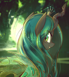Size: 3521x3892 | Tagged: artist:mirroredsea, changeling, changeling queen, crown, cute, cutealis, eye clipping through hair, female, horn, jewelry, lidded eyes, looking at you, looking back, looking back at you, mare, pony, queen chrysalis, regalia, safe, slit eyes, smiling, solo, wings
