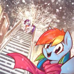 Size: 2791x2791 | Tagged: safe, artist:mirroredsea, rainbow dash, rarity, pegasus, pony, unicorn, blushing, bridge, building, city, clothes, cute, dashabetes, duo, eye clipping through hair, female, happy, looking at you, mare, open mouth, raised leg, raribetes, scarf, selfie, sky, smiling, snow, snowfall, stairs, standing, streetlight, tree, trotting, winter