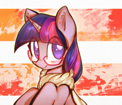 Size: 2792x2406 | Tagged: safe, artist:mirroredsea, twilight sparkle, pony, unicorn, bust, clothes, cute, ear fluff, female, glasses, high res, looking at you, looking back, mare, scarf, smiling, solo, twiabetes, unicorn twilight