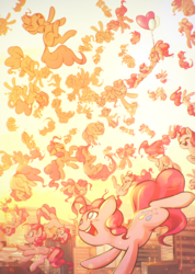Size: 2698x3800 | Tagged: safe, artist:mirroredsea, pinkie pie, earth pony, pony, balloon, building, city, clone, clothes, cute, diapinkes, eyes closed, falling, female, floating, floppy ears, happy, hnnng, looking up, mare, multeity, open mouth, pinkie clone, ponk, self ponidox, skyscraper, skyscrapers, smiling, song in the comments, sunset, then watch her balloons lift her up to the sky, too many ponies, too much pink energy is dangerous, underhoof, upside down, xk-class end-of-the-world scenario