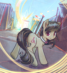 Size: 2730x2995 | Tagged: safe, artist:mirroredsea, octavia melody, earth pony, pony, blushing, female, head turn, looking at you, mare, smiling, solo