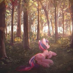 Size: 3000x3000 | Tagged: safe, artist:mirroredsea, twilight sparkle, pony, unicorn, cute, female, forest, grass, looking up, mare, nature, on side, outdoors, plot, prone, scenery, scenery porn, smiling, solo, tree, twiabetes, underhoof, unicorn twilight