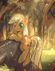 Size: 2237x2900   Tagged: safe, artist:mirroredsea, applejack, earth pony, pony, colored pupils, cowboy hat, cute, dappled sunlight, eye clipping through hair, female, forest, hat, hatless, jackabetes, leaning, looking at you, mare, missing accessory, scenery, smiling, solo