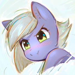 Size: 2800x2800 | Tagged: safe, artist:mirroredsea, limestone pie, earth pony, pony, blushing, bust, chromatic aberration, cute, female, hnnng, limabetes, limetsun pie, looking at you, mare, portrait, simple background, solo, tsundere