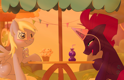 Size: 5100x3300 | Tagged: safe, artist:dmann892, derpy hooves, fizzlepop berrytwist, tempest shadow, pegasus, pony, unicorn, my little pony: the movie, blushing, cute, derpabetes, fake eyes, fake horn, female, food, friendshipping, hat, laughing, mare, muffin, open mouth, party hat, sadorable, scrunchy face, sitting, soda, sticky note, story included, tempestbetes, underp, wallpaper
